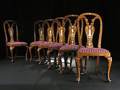 Seltener Satz von sechs italienischen Barockstühlen mit Elfenbeinintarsien