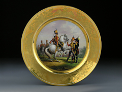 Russischer Porzellanteller St. Petersburg Nikolaus I., 1829 aus der kaiserlichen Porzellanmanufaktur St. Petersburg.