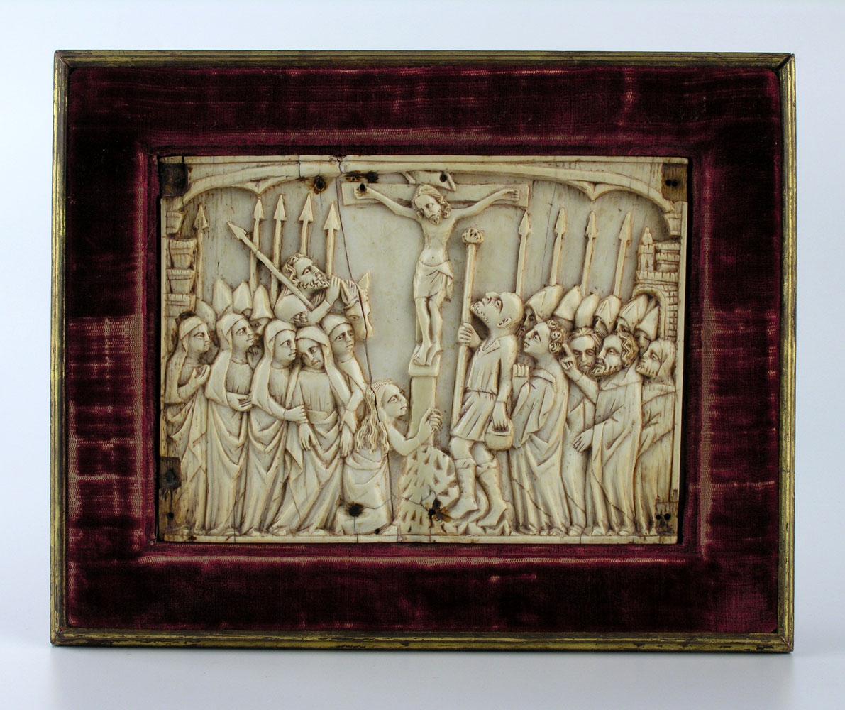 Gotische Bildtafel mit Reliefschnitzerei in Elfenbein