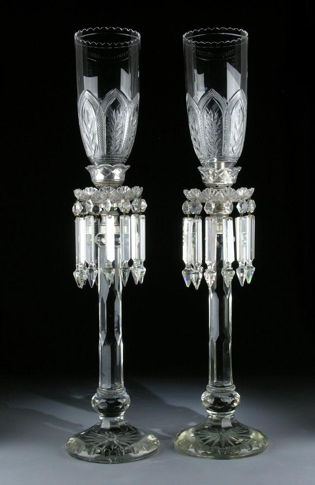 Seltene englische Kristall-Windleuchten