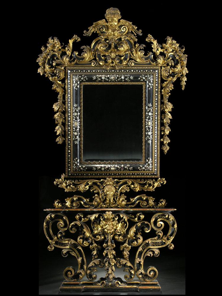 gro e italienische wand spiegelkonsole hampel fine art auctions. Black Bedroom Furniture Sets. Home Design Ideas