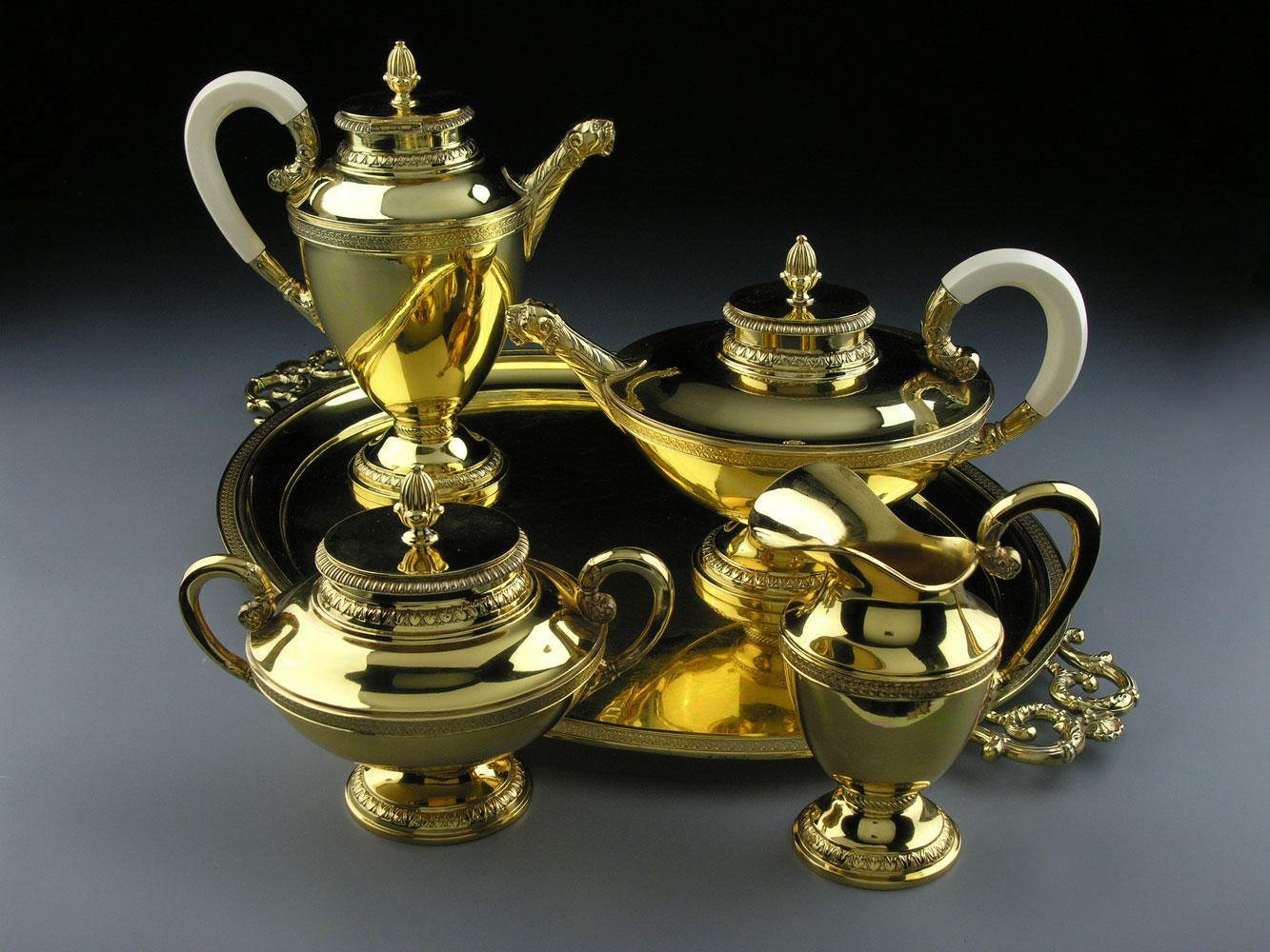 Vergoldetes Kaffee- und Teeservice