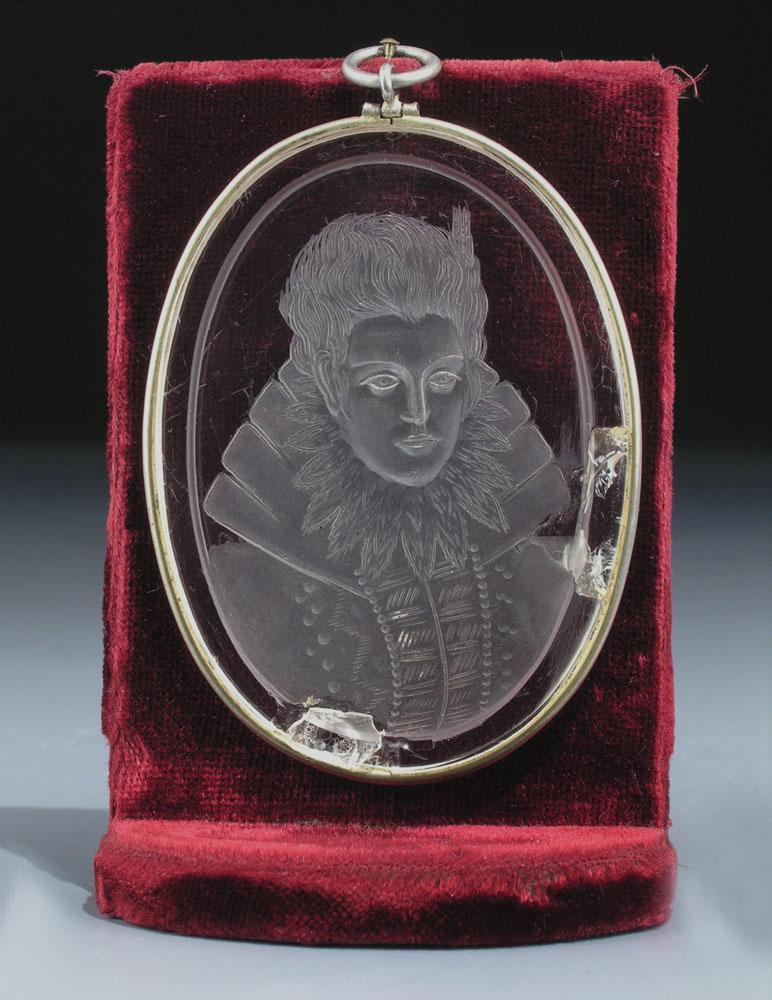 Bergkristall-Schliff-Portrait der Herzogin Anna von Bayern (1572 - 1616)