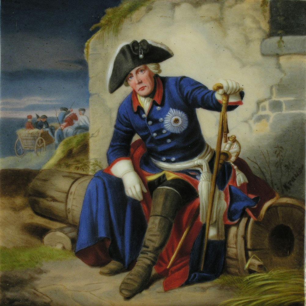 Porzellangemälde mit Darstellung Friedrichs des Großen