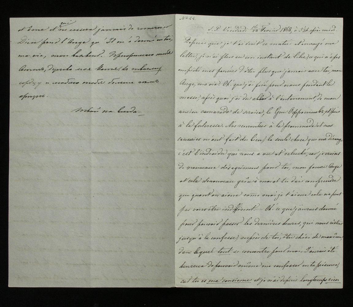Brief Nr. 44 der Korrespondenz des Zaren Alexander II. von Russland an Ekaterina Dolorukaya (der späteren Prinzessin Jurjewskaya) in französischer Sprache.