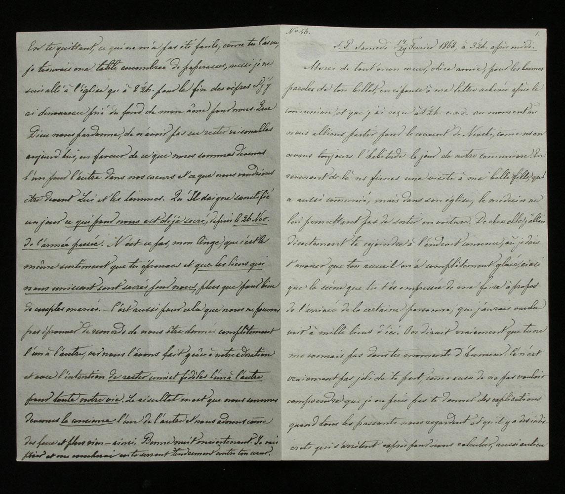 Brief Nr. 46 der Korrespondenz des Zaren Alexander II. von Russland an Ekaterina Dolorukaya (der späteren Prinzessin Jurjewskaya) in französischer Sprache.