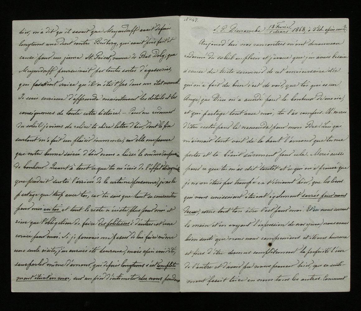 Brief Nr. 47 der Korrespondenz des Zaren Alexander II. von Russland an Ekaterina Dolorukaya (der späteren Prinzessin Jurjewskaya) in französischer Sprache.