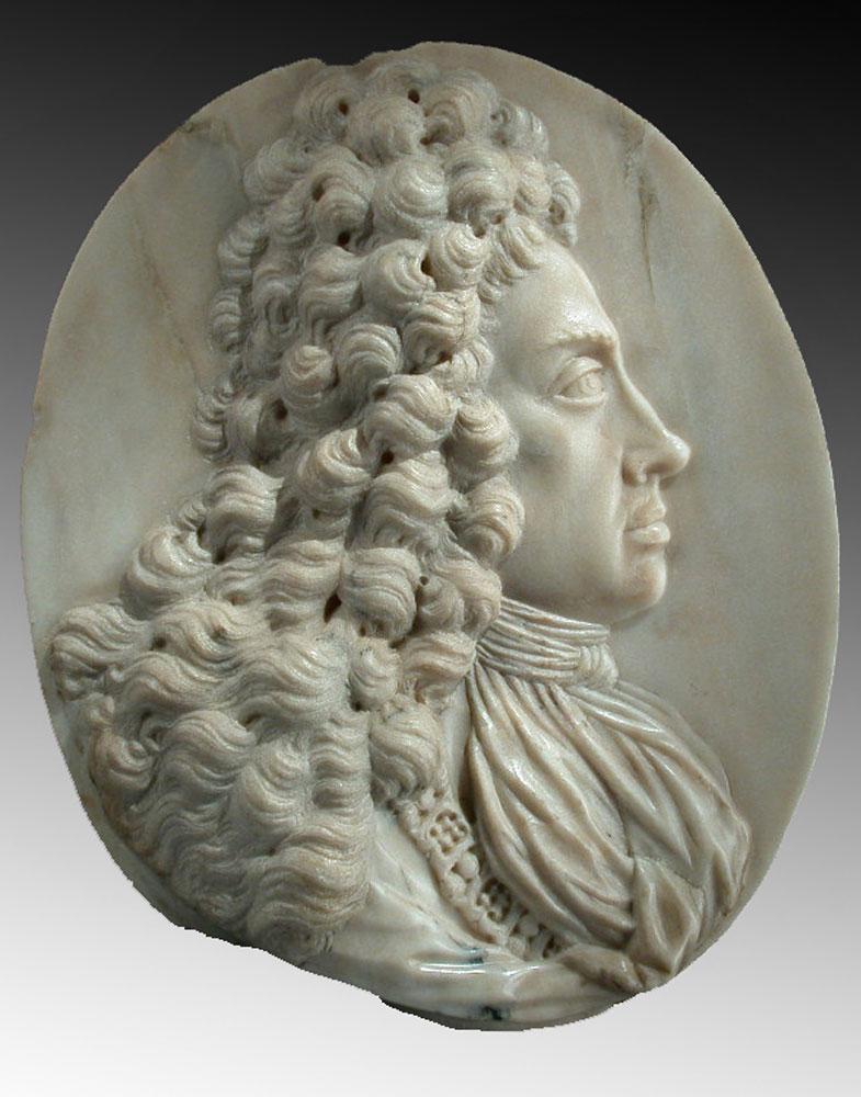 Bedeutende Marmor Bildnisreliefplatte König Joseph I. von Paul Strudel um 1648 in Cles/Italien - 1708 Wien