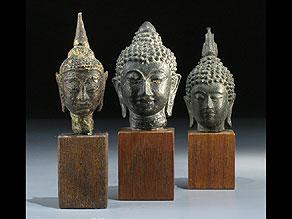 Detail images:  Drei Buddha-Köpfe
