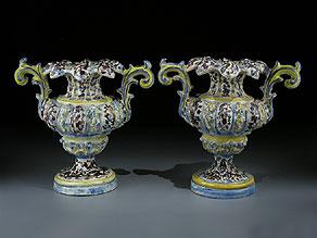 Detail images:  Paar Fayence-Vasen