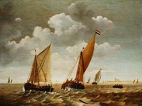 Detail images:  Gerard de Jager Marinemaler in Dordrecht, zeitweise in Delft tätig, gest. 1679/80