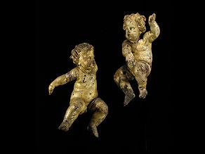 Detail images:  Paar geschnitzte und gefasste Puttenfiguren