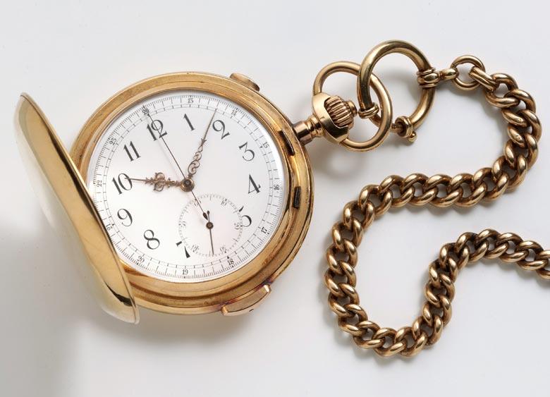 HERRENSAVONNETTE, 18 KARAT GOLD, MIT MINUTENREPETITIONSSCHLAGWERK UND CHRONOGRAPH