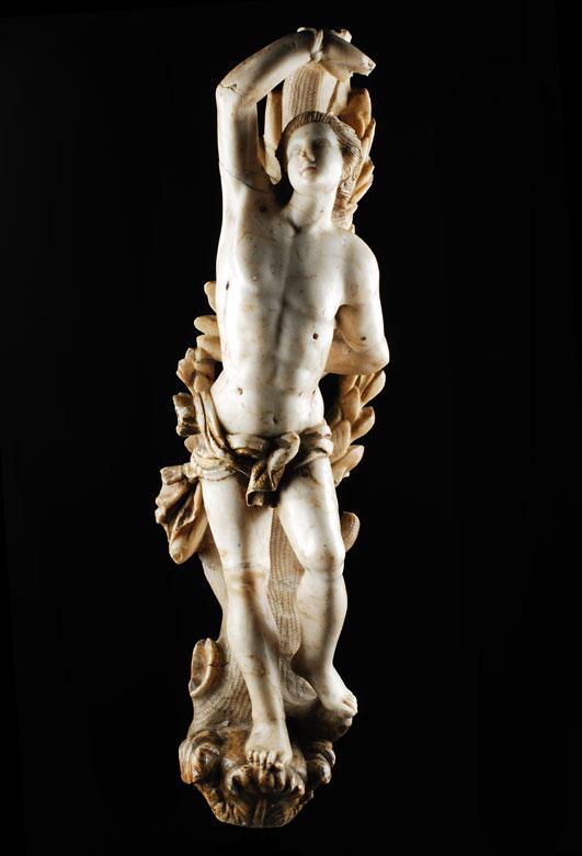 Alabaster Figur des Heiligen Sebastian