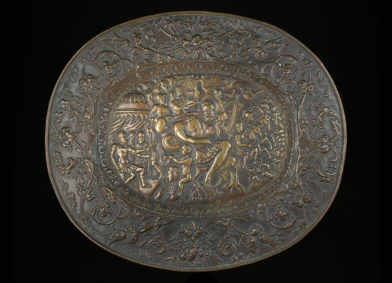 Reliefplatte mit dem Kampf zwischen David und Goliath