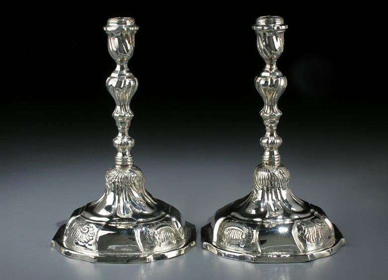 Paar Danziger Barock-Silberleuchter
