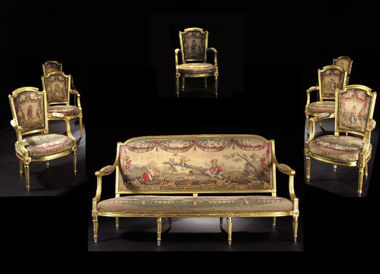 Französische Louis XVI-Sitzgarnitur, signiert A. GAILLIARD