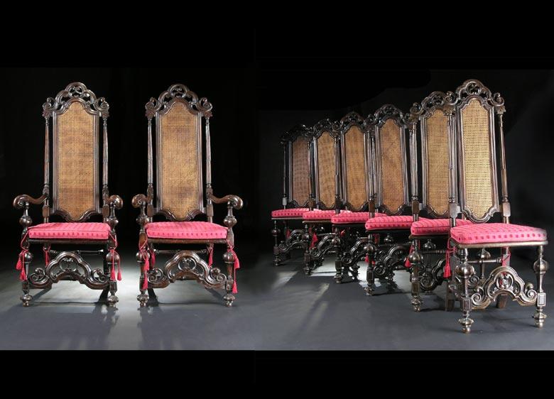 Satz von 6 Lehnstühlen und 2 Armlehnsesseln in italienischen Hochbarockstil