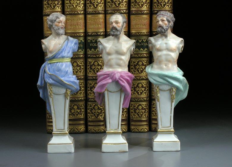 Satz von drei Meissener Büsten griechischer Gelehrter