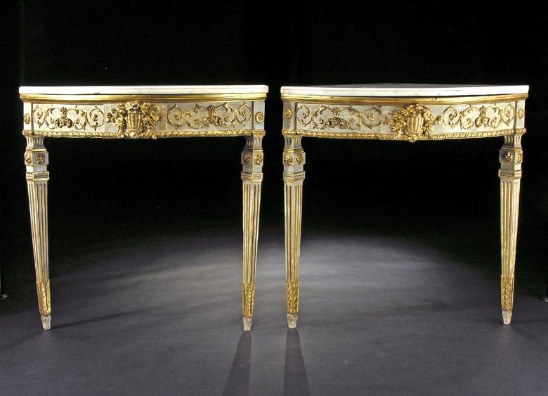 Paar Louis XVI - Eckkonsoltische