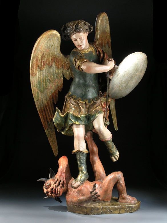 Schnitzfigur des Heiligen Michael