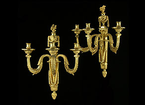 Detail images:  Paar Louis XVI-Wandleuchter