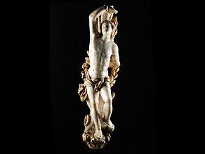 Detail images:  Alabaster Figur des Heiligen Sebastian