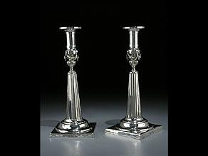 Detail images:  Paar Empire-Silberleuchter