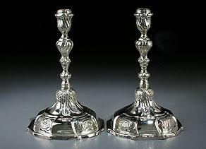 Detail images:  Paar Danziger Barock-Silberleuchter