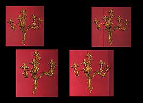 Detail images:  Satz von vier Napoleon III-Wand?leuchter??appliken im Rokokostil