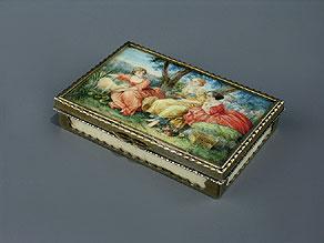 Detail images:  Silber gefaßte Elfenbeindose mit Miniaturmalerei im Deckel