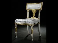 Detail images: Satz von sechs klassizistischen Stühlen in Weiß und Gold