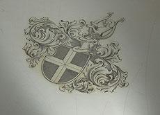 Detail images: Großes Berliner Silbertablett mit Wappen