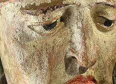Detail images: Schnitzfigur des Heiligen Martin