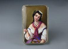 Detail images: Silberdose mit Porzellangemälde