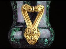 Detail images: Große Malachit-Amphorenvase