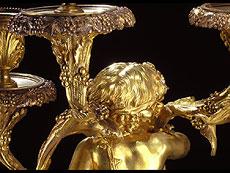 Detail images: Paar große Kamingirandolen in Marmor und feuervergoldeter Bronze