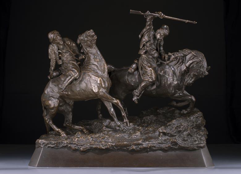 Bronzegruppe zweier Tscherkessen-Reiter