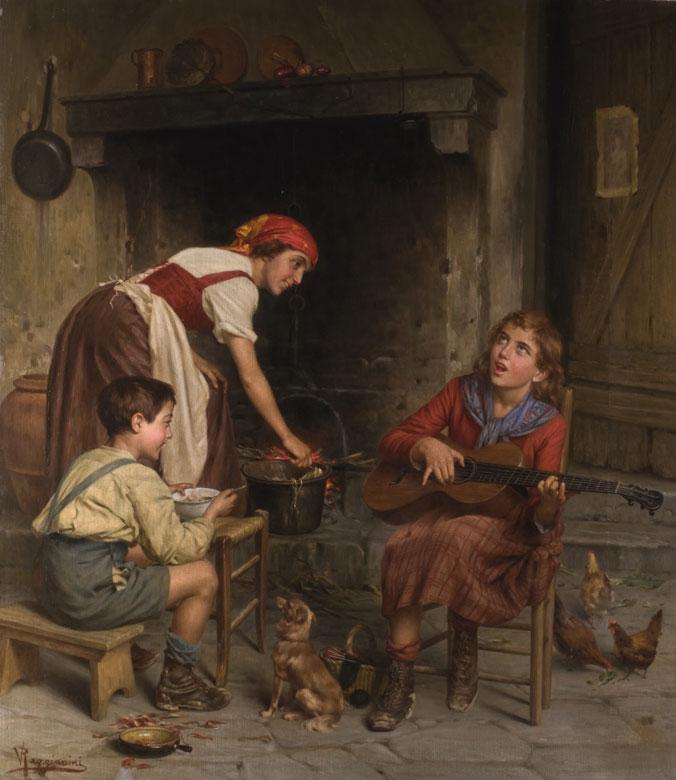 Genremalerei 19. jahrhundert  Vittorio Reggianini, 1858 Modena - 1938, Italienischer Genremaler ...