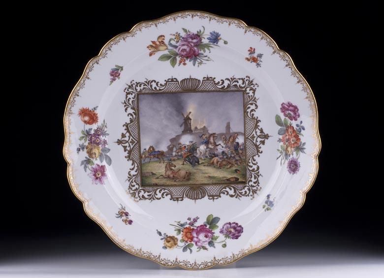 Große Meissener Porzellanplatte mit Bildszenen nach Rugendas