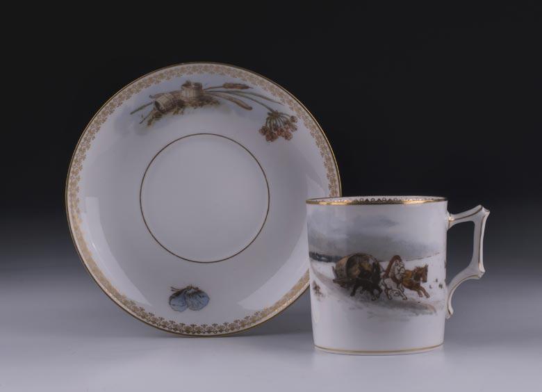 Tasse mit Untertasse der Manufaktur der Gebrüder Kornillow