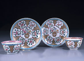 Detail images:  Paar Porzellan-Koppchen mit Untertellern