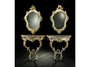 Detail images:  Paar Rokoko-Wandspiegel mit zugehörigen Spiegeln