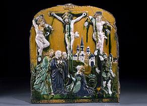 Detail images:  Glasiertes Reliefbild eines Renaissance-Prunkofens