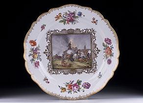 Detail images:  Große Meissener Porzellanplatte mit Bildszenen nach Rugendas