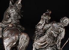 Detail images: Bronzegruppe zweier Tscherkessen-Reiter