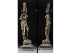 Detail images: Indische Bronzestatue der Göttin Parvati