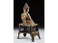 Detail images: Gegossene Buddhafigur mit Ölvergoldung