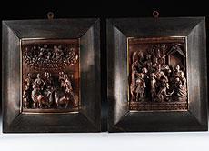 Detail images: Paar äußerst seltene und fein geschnitzte portugiesische Schnitzreliefs
