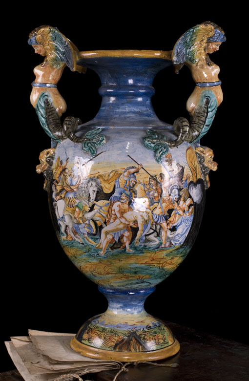 Große Majolika-Vase, Italien, 19. Jahrhundert